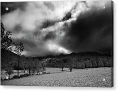 Acrylic Print featuring the photograph Passing Snow In North Carolina In Black And White by Greg Mimbs