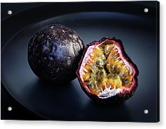 Passion Fruit On Black Plate Acrylic Print