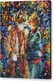 Passion Of The Cats  Acrylic Print by leonid Afremov