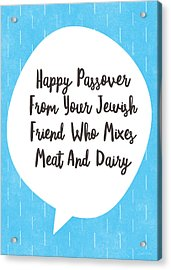 Passover Meat And Dairy Card- Art By Linda Woods Acrylic Print