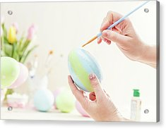 Pastel Easter Egg Handmade In A Worshop. Acrylic Print
