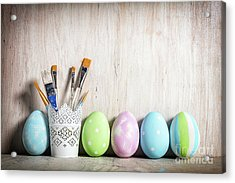Pastel Easter Eggs And Brushes In A Rustic Cup Acrylic Print