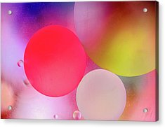 Acrylic Print featuring the photograph Pastel Oil Bubble Water Drops by John Williams