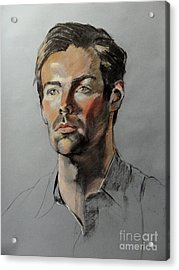Pastel Portrait Of Handsome Guy Acrylic Print