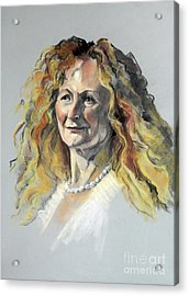 Pastel Portrait Of Woman With Frizzy Hair Acrylic Print