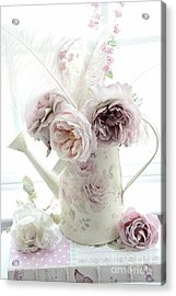 Acrylic Print featuring the photograph Pastel Romantic Shabby Chic Pink Flowers In Watering Can - Romantic Cottage Floral Home Decor  by Kathy Fornal