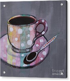 Acrylic Print featuring the painting Pastel Stripes Polka Dotted Coffee Cup by Robin Maria Pedrero