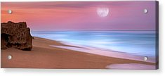 Pastel Sunset And Moonrise Over Hutchinson Island Beach, Florida. Acrylic Print