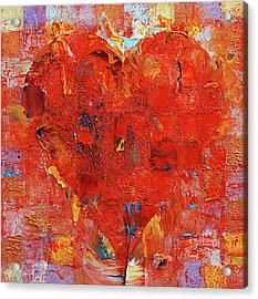 Patchwork Heart Acrylic Print by Michael Creese
