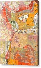 Patchwork Kitty Acrylic Print by Jacky Gerritsen