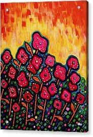 Patchwork Poppies Acrylic Print by Brenda Higginson