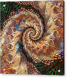Acrylic Print featuring the digital art Patchwork Spiral by Richard Ortolano