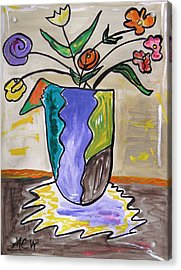 Acrylic Print featuring the painting Patchwork Vase by Mary Carol Williams