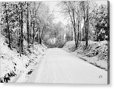 Path In The Snow Acrylic Print by Michelle Shockley