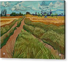 Path Through A Wheat Fields Acrylic Print by Vitali Komarov