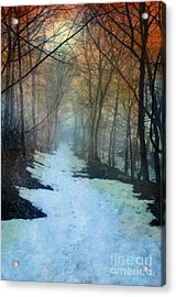 Path Through The Woods In Winter At Sunset Acrylic Print by Jill Battaglia