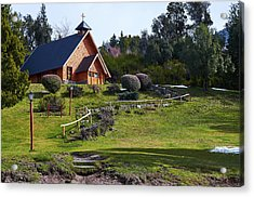 Rustic Church Surrounded By Trees In The Argentine Patagonia Acrylic Print
