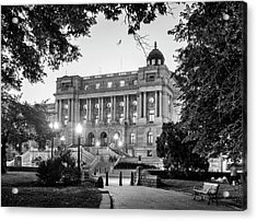Path To The Library In Black And White Acrylic Print