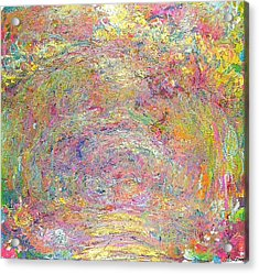 Path Under The Rose Trellises Acrylic Print by Claude Monet