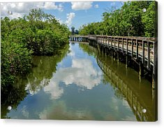Acrylic Print featuring the photograph Pathway Through Salt Water Marsh To Observation Tower  -  Preservetowerwalkway135457 by Frank J Benz