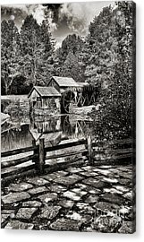 Pathway To Marby Mill In Black And White Acrylic Print by Paul Ward