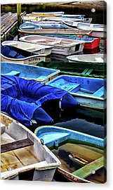 Patiently Waiting Dinghies Acrylic Print by Karol Livote