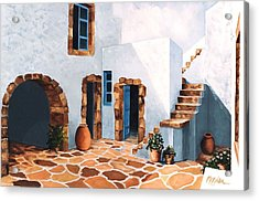 Patio In Patmos, Greece-prints From Original Oil Painting Acrylic Print