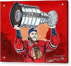 Patrick Kane Stanley Cup Champion 2015 Acrylic Print by Dave Olsen