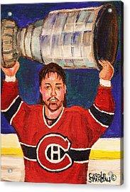 Patrick Roy Wins The Stanley Cup Acrylic Print by Carole Spandau