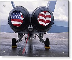 Patriotic American Flag Covers On The Rear Of An American F/a-18 Hornet Fighter Combat Jet Aircraft. Acrylic Print