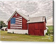 Patriotic Barn Acrylic Print by Trey Foerster