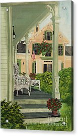 Patriotic Country Porch Acrylic Print by Charlotte Blanchard