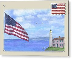 Acrylic Print featuring the painting Patriotic Illustrated Lighthouse by Judith Cheng