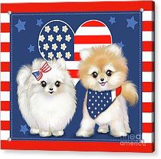 Patriotic Pomeranians Acrylic Print by Catia Cho