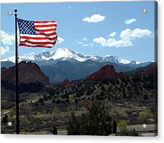 Patriotism At Pikes Peak Acrylic Print by Diane Wallace