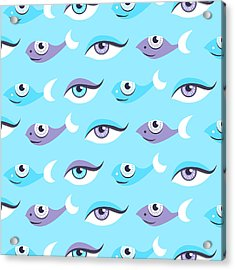Pattern Of Blue Eyes And Fish In Sea Acrylic Print