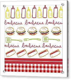 Pattern With Barbecue Lettering, Hot Acrylic Print by Gillham Studios
