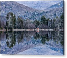 Patterns And Reflections At The Lake Acrylic Print by Nancy De Flon