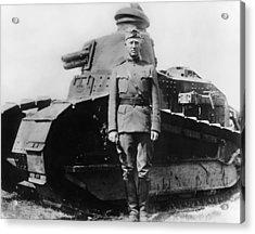 Patton Beside A Renault Tank - Wwi Acrylic Print
