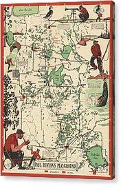 Paul Bunyan's Playground - Northern Minnesota - Vintage Illustrated Map - Cartography Acrylic Print