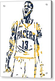 Paul George Indiana Pacers Pixel Art 6 Acrylic Print