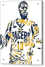 Paul George Indiana Pacers Pixel Art 7 Acrylic Print