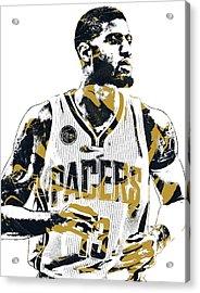 Paul George Indiana Pacers Pixel Art Acrylic Print by Joe Hamilton