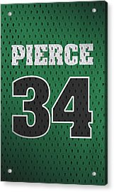 Paul Pierce Boston Celtics Number 34 Retro Vintage Jersey Closeup Graphic Design Acrylic Print by Design Turnpike