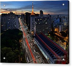 Paulista Avenue And Masp At Dusk - Sao Paulo - Brazil Acrylic Print