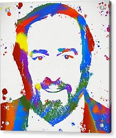 Pavarotti Colorful Paint Splatter Acrylic Print by Dan Sproul