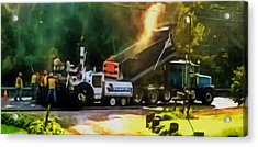 Pavement Machine Laying Fresh Asphalt  On Top Of The Gravel Base During Highway Construction Acrylic Print