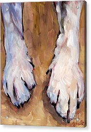 Acrylic Print featuring the painting Paw Study  by Molly Poole