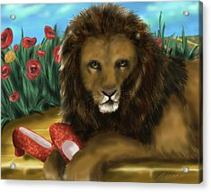 Acrylic Print featuring the digital art Paws Off My Ruby Slippers by Meagan  Visser