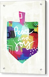 Peace And Joy Dreidel- Art By Linda Woods Acrylic Print by Linda Woods